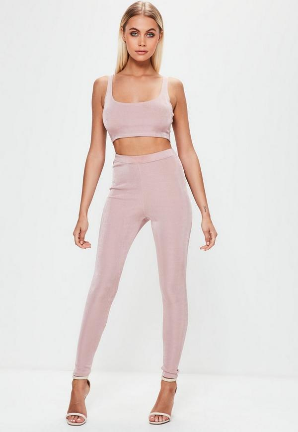 Pink Slinky Ribbed Leggings