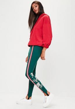 Green Elastic Trim Embroidered Leggings