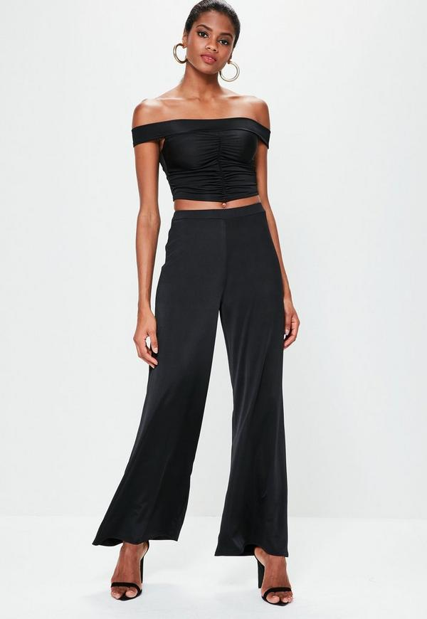 Black Slinky Wide Leg Trousers