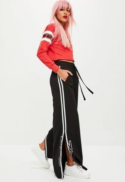 Czarne luźne spodnie dresowe z szerokimi nogawkami