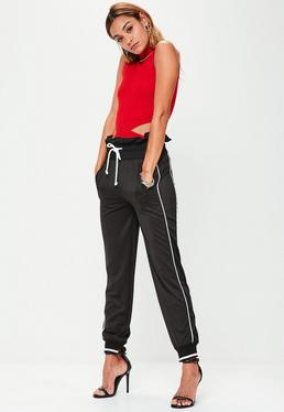 Black Paperbag Waist Cuffed Joggers