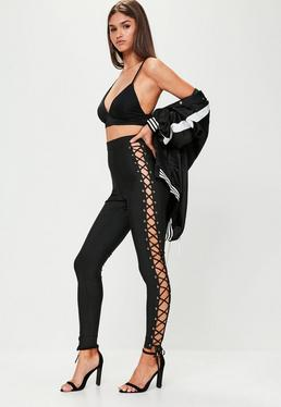 Premium Black Bandage Lace Up Leggings