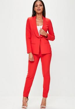 Schmale Anzug-Hose mit Taschen in Rot