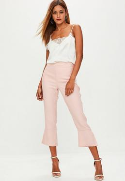 Pink Kick Flare Cropped Trousers
