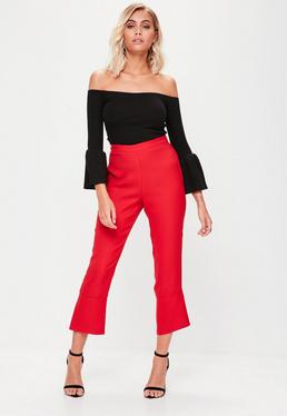 Red Kick Flare Cropped Trousers