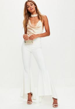 White Asymmetric Extreme Draped Frill Cigarette Trousers