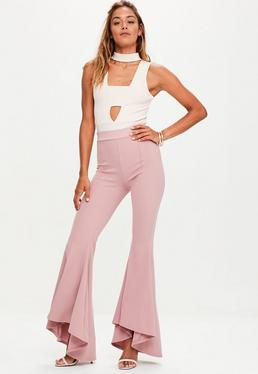 Pink Asymmetric Extreme Draped Frill Cigarette Trousers