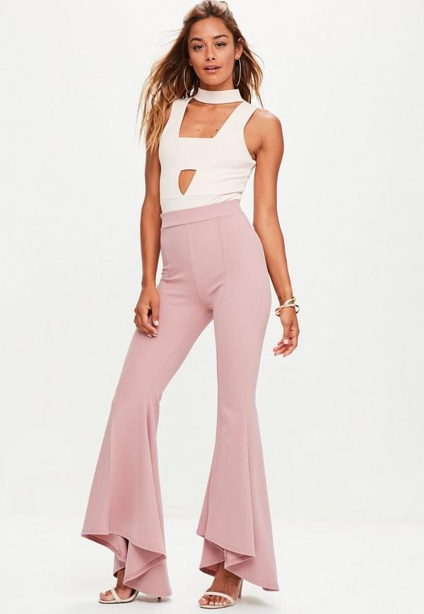 Pink Extreme Draped Frill Cigarette Trousers