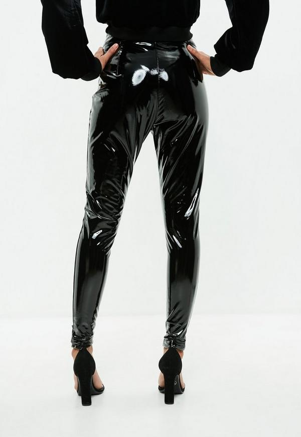 Black Vinyl Lace Up Skinny Pants Missguided