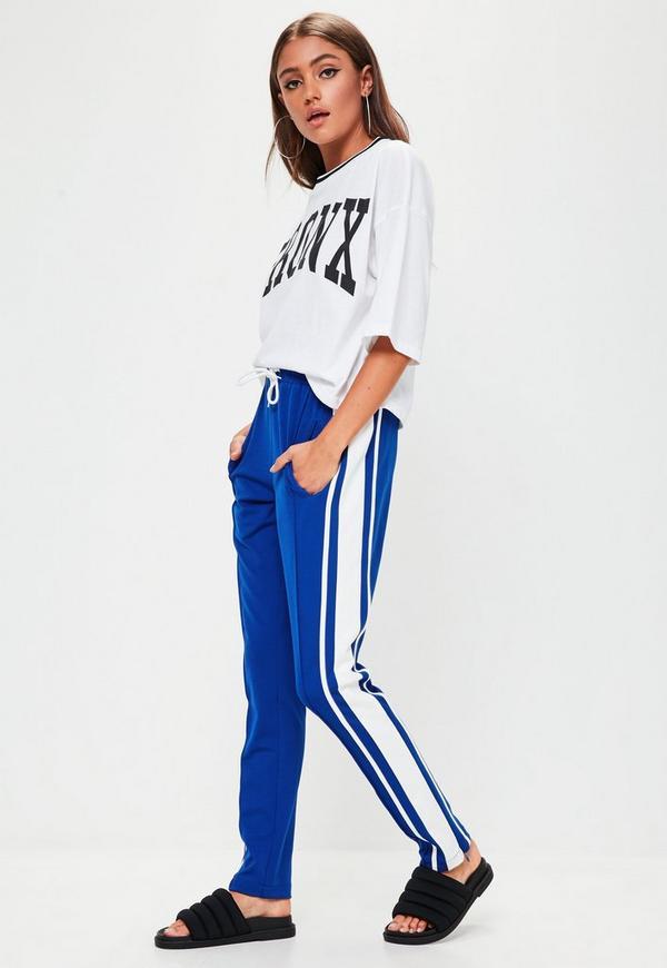 Blue Striped Skinny Joggers