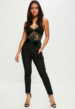 Black Belted Skinny Trousers