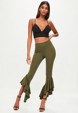 Khaki Asymmetric Frill Side Cigarette Pants