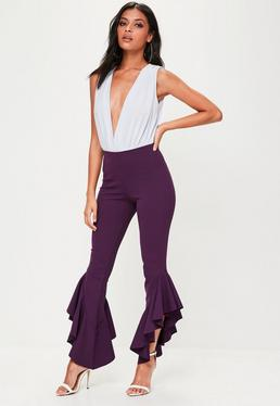 Purple Asymmetric Frill Side Cigarette Trousers