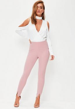 Pink Skinny Fit Cigarette Trousers