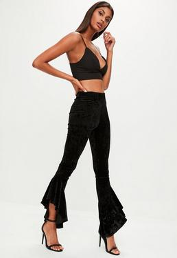 Black Velvet Asymmetric Frill Side Cigarette Pants