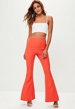 Orange Kick Flare Pants
