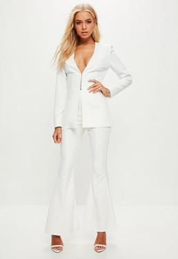 White Kick Flare Trousers