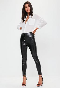Black Popper Front Faux Leather Trousers