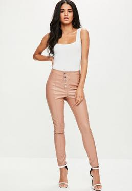 Nude Popper Front Faux Leather Trousers
