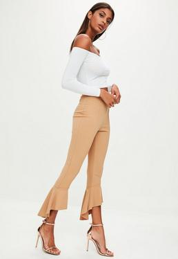 Camel Frill Flare Trousers