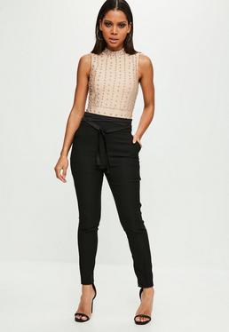 Czarne dopasowane błyszczące spodnie