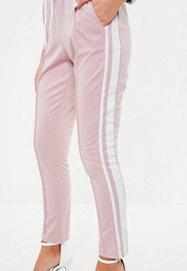 rosa jogginghose mit seitenstreifen missguided. Black Bedroom Furniture Sets. Home Design Ideas