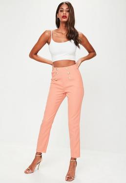 Nude Military High Waisted Trousers
