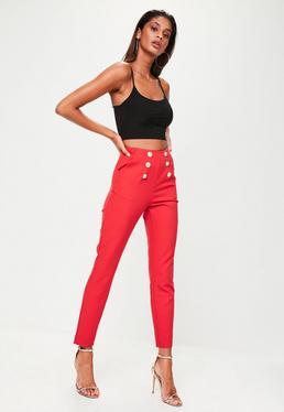 Czerwone spodnie cygaretki z wysokim stanem