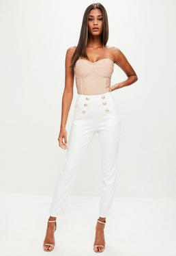 White Military High Waisted Trousers