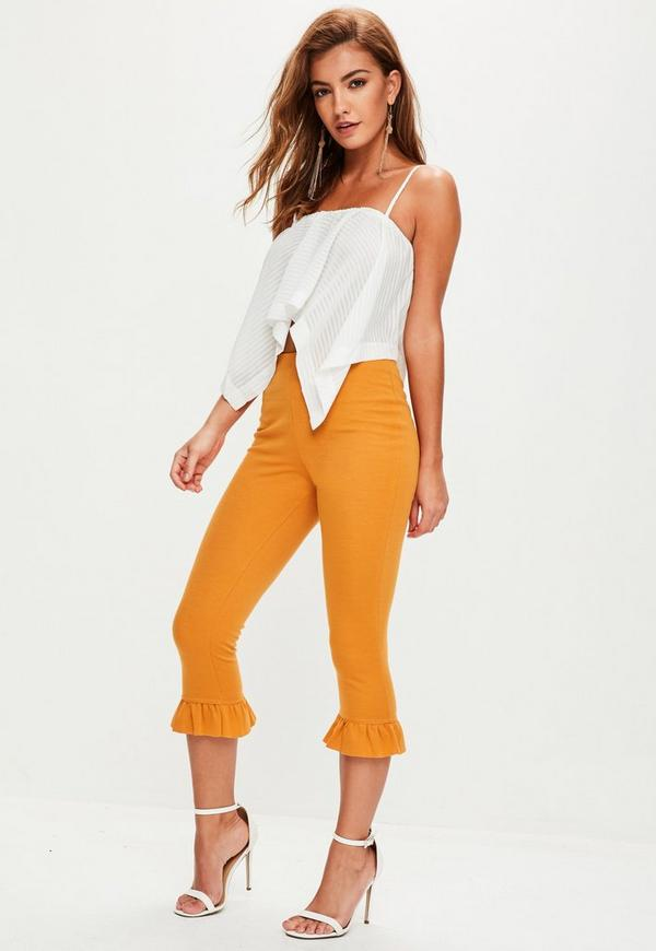Orange Frill Hem Leggings