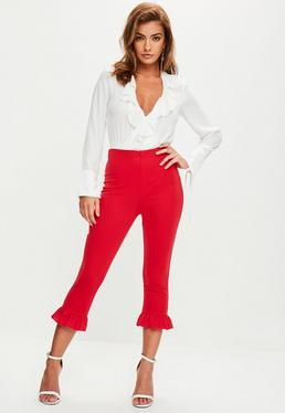 Red Frill Hem Leggings