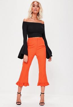 Pantalon jupe culotte orange à froufrous