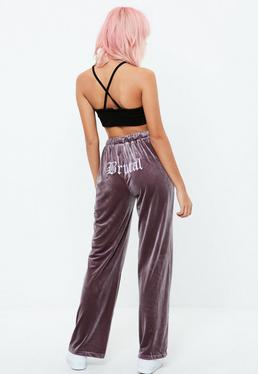Purple Brutal Slogan Velour Joggers