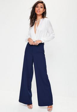 Premium Blue Crepe Wide Leg Trousers
