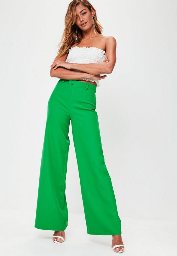 Premium Green Crepe Wide Leg Trousers