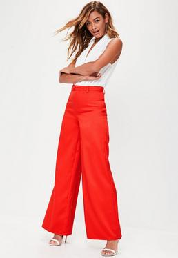 Premium Red Crepe Wide Leg Trousers