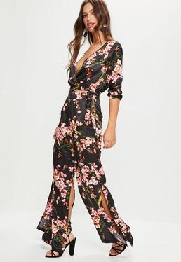Black Floral Wide Leg Pants