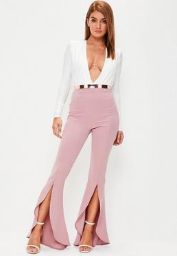 Pink Split Front Trousers