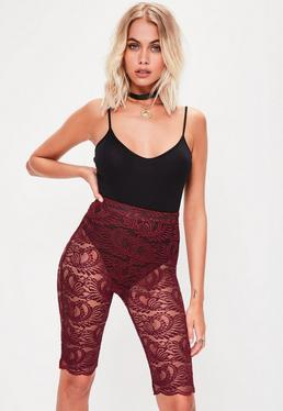 Burgundy Lace Cycling Shorts