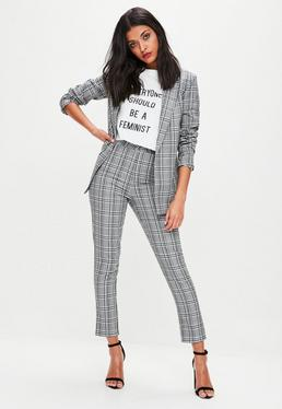 Gray Plaid Tailored Cigarette Pants