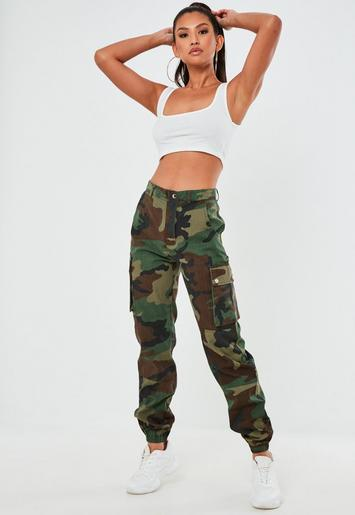 green camo printed cargo trouser
