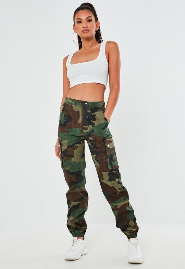 premium khaki camo printed cargo trousers  missguided