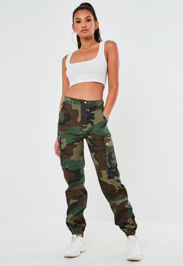 Missguided - Khaki Camo Printed Cargo Trousers - 2