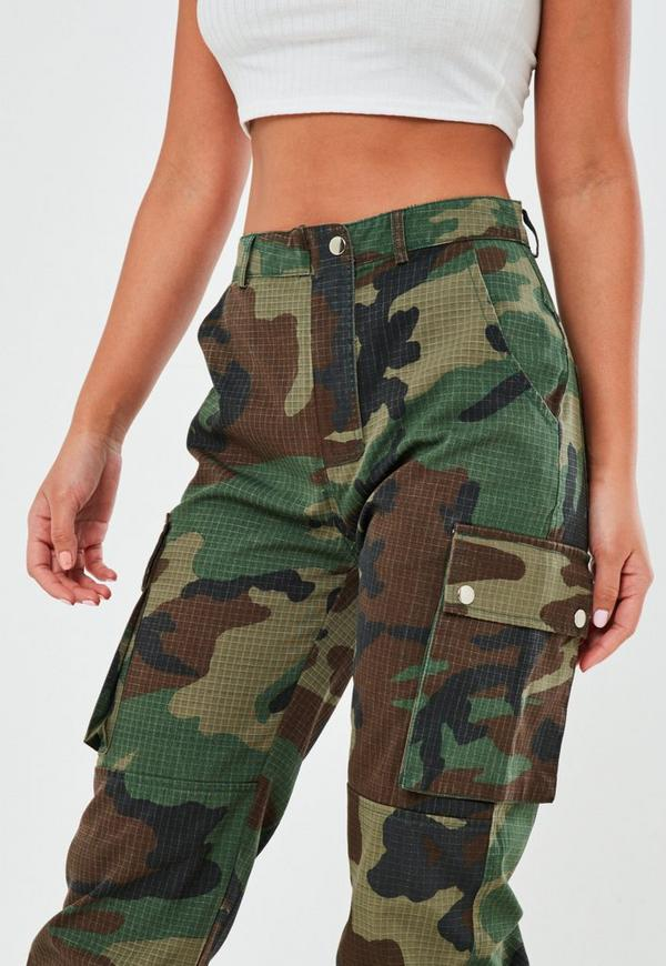 Green Camo Printed Cargo Trouser Missguided
