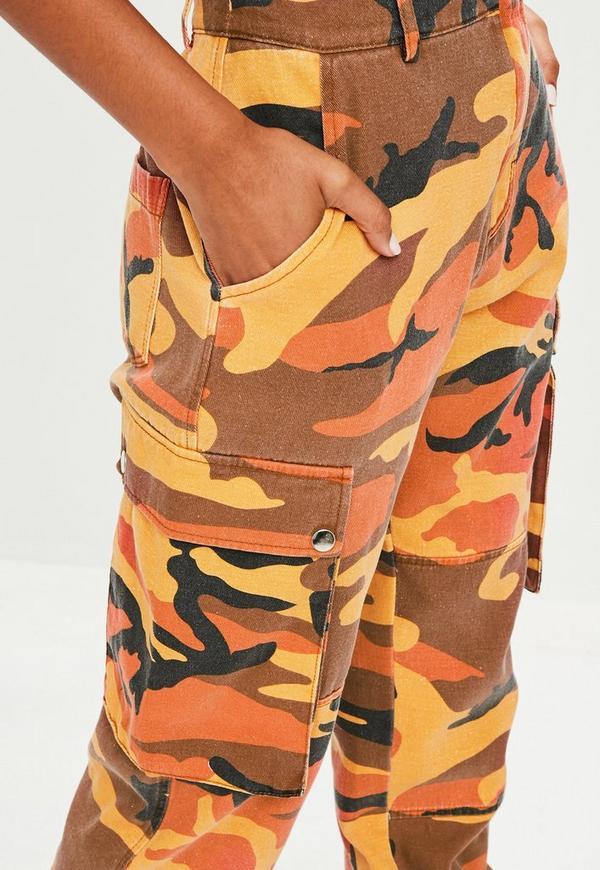 orange camo printed cargo trouser missguided