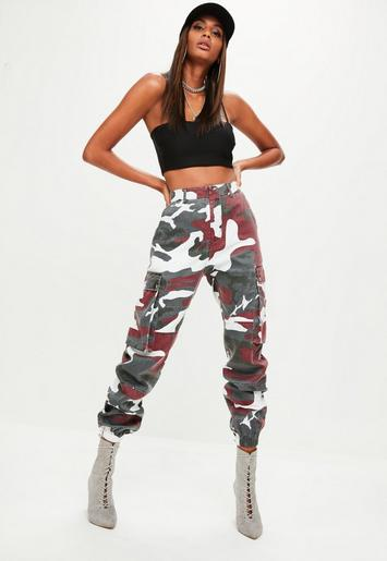 Red Camo Printed Cargo Trouser Missguided