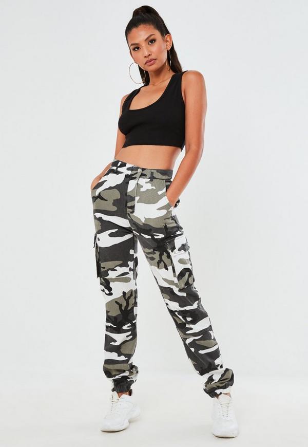 premium gray camo printed cargo pants missguided