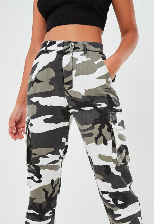 Grey Camo Printed Cargo Trouser Missguided