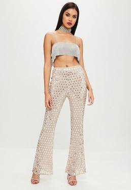 Carli Bybel Nude Embellished Flared High Waist Pants