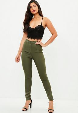 Khaki Satin Hem Detail Cigarette Pants